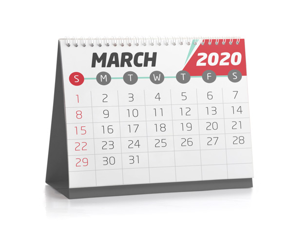 March White Office Calendar 2020 Isolated on White