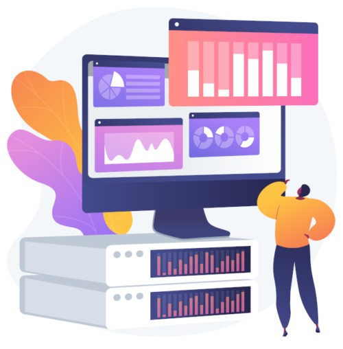 Dashboard analytics. Computer performance evaluation. Chart on screen, statistics analysis, infographic assessment. Business report on display. Vector isolated concept metaphor illustration.